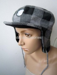 acrylic checked earflap hat