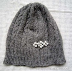 acrylic jacquard knitted hat with beads