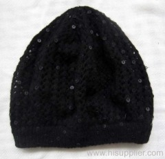 acrylic knitted hat with sequins