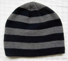 acrylic stripe knitted hat