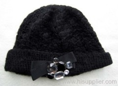 acrylic jacquard knitted hat with diamante