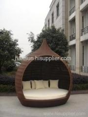 Garden wicker lounger bed