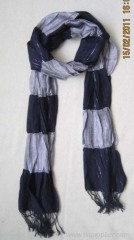 acrylic stripe woven scarf with elastic band and rulex