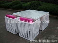 PE rattan furniture garden table chairs