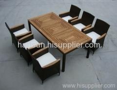Garden rattan furniture teak wood table chairs