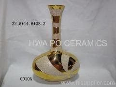 Golden Galvanized Vase with Sparkling Powder Decorated