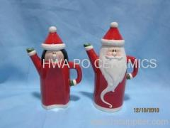 Red Ceramic Oil & Vinegar in Santa Claus Design for Christmas