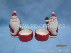Red Ceramic Candle Holder in Santa Claus Design for Christmas
