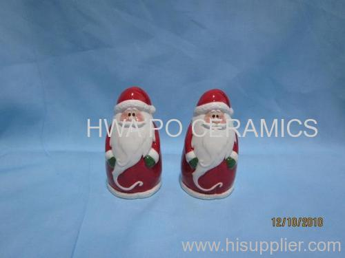 Red Ceramic Salt & Pepper Shaker (S&P) in Santa Claus Design for Christmas