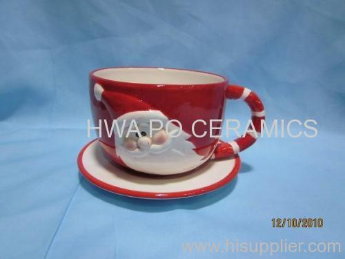 Red Ceramic Cup & Saucer in Santa Claus Design for Christmas
