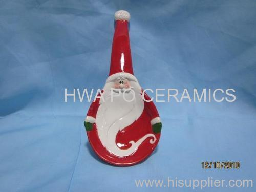 Red Ceramic Spoon Rest in Santa Claus Design for Christmas