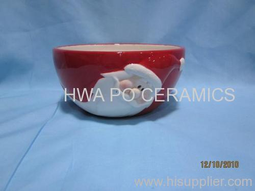 Red Ceramic Bowl in Santa Claus Design for Christmas