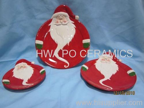 Red Ceramic Round Plate in Santa Claus Design for Christmas