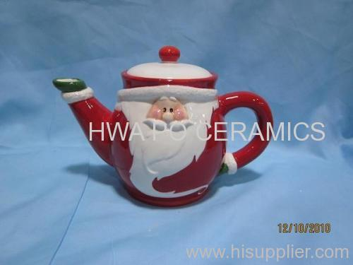 Red Ceramic Tea Pot in Santa Claus Design for Christmas