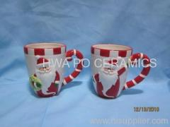 Red Ceramic Mug in Santa Claus Design for Christmas