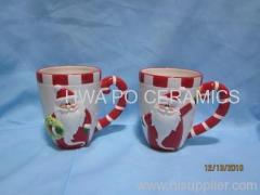 Red Ceramic Mug in Santa Claus Design for Christmas