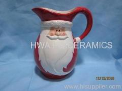 Red Ceramic Water Pitcher in Santa Claus Design for Christmas