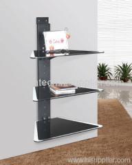 3 Shelf Temperd Glass Black Iron Tube DVD Player Bracket