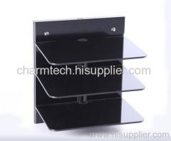 3 Shelf Black Tempered Glass DVD Player Mounts