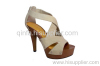LADY WIDE STRAP BOND HIGH HEEL PUMP