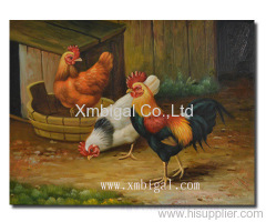 Chicken oil painting