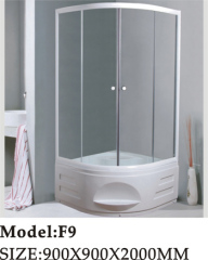 top and handheld shower available shower room