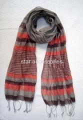 viscose and silk stripe woven scarf