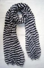 viscose stripe woven scarf