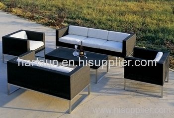 Stainless Steel Rattan Wicker Sofa
