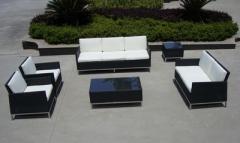 Patio wicker stainless steel sofa set