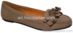 flowered suede flat shoe