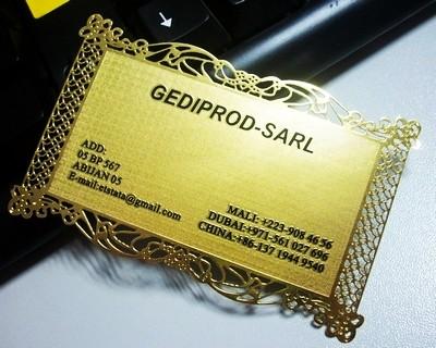 brass metal business card