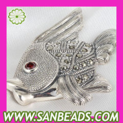 Thai Sterling Silver tropical Fish Marcasite Pendant