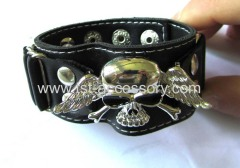 Skeleton parts leather bracelet