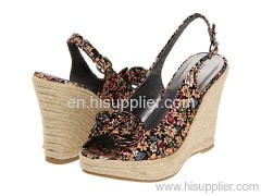 floral fabric wedge sandal