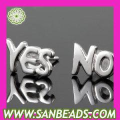 Sterling Silver YES /NO Stud Earrings
