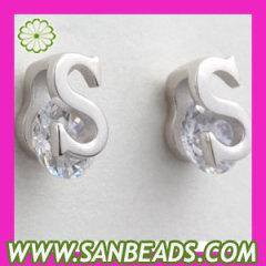 925 Sterling Silver CZ Alphabet Letter S Stud Earrings