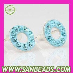 925 Silver Blue Circle Swarovski Crystal Stud Earrings
