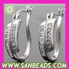 Sterling Silver Clear CZ Huggie Hoop Earrings