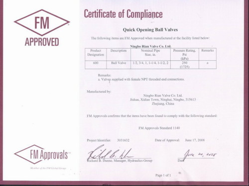 Fm certificate of compliance ningbo rian valve co ltd fm certificate of compliance altavistaventures Images
