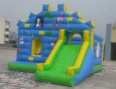 Blue wall combo bouncy castle, bounce house