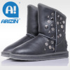 Fashion leather boots with double-face sheepskin material