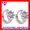 Hot sale Silver earring with purple CZ stone
