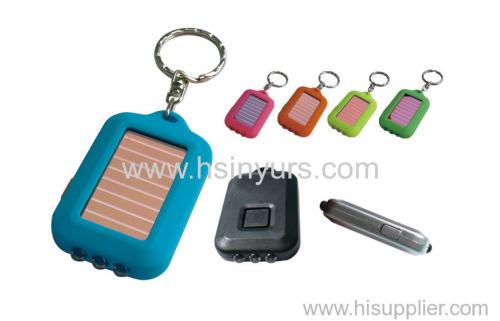 Solar keychain flashlight