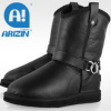 Fashion genuine leather boots with sheepskin material