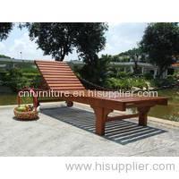 outdoor solid wooden sunbed