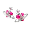 Fashion Vivienne Diamante Heart Stud Earrings Pink