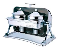 Rectangle Soup station with Chrome plated legs