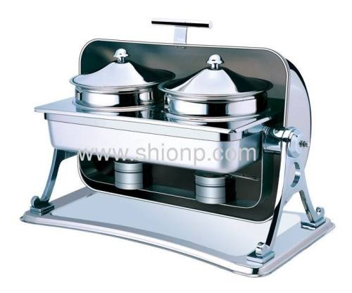 Rectangle Soup station with Chrome leg