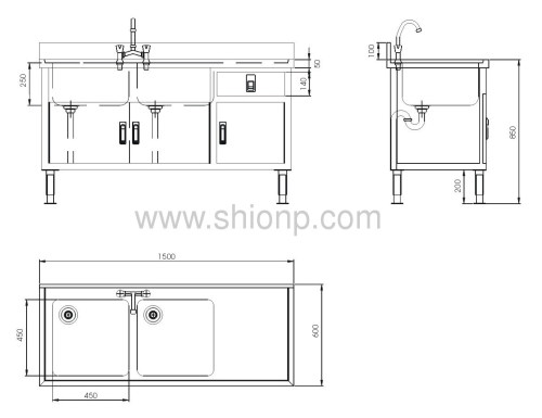 stainless steel dual-basin washing desk